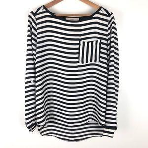 Loft stripe pocket blouse pullover 0076